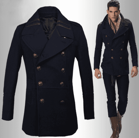 Navy Blue Slim Fit Pea Coat For Men - NeedPeaCoat.Com