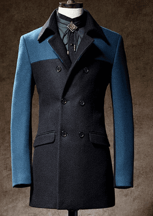 2 Tone ColorBlock Cool Blue Double Breasted Pea Coat For Men