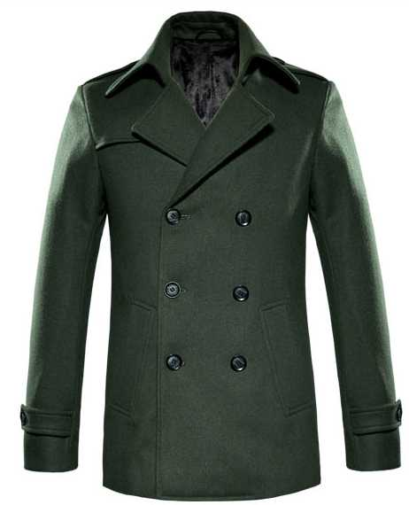 Forest Green Double Breasted Mens Pea Coat