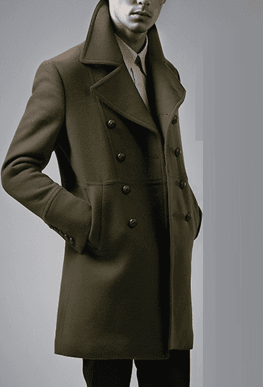 Luxury Long Mens Forest Green Pea Coat
