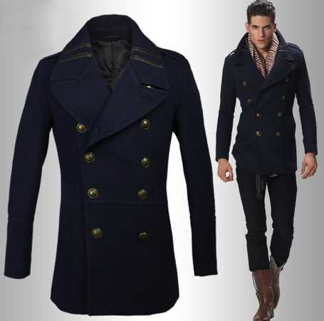 Mens Navy Blue London Style Double Breasted Pea Coat