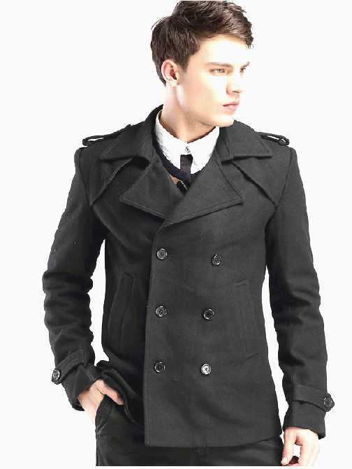 DOUBLE BREASTED BLACK FASHION WOOL PEA COAT FOR MEN